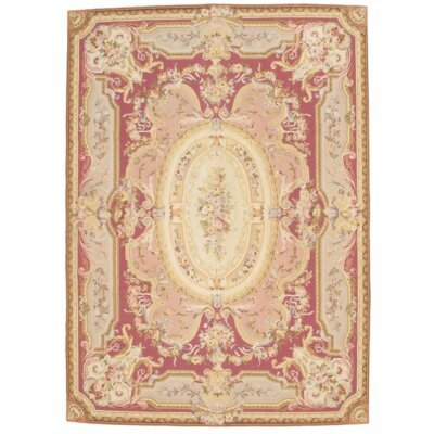 French Abusson Weave Flat Hand Knotted Wool Rose Area Rug