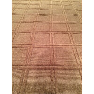 Modern Windowpane Hand Knotted Wool Brown Area Rug