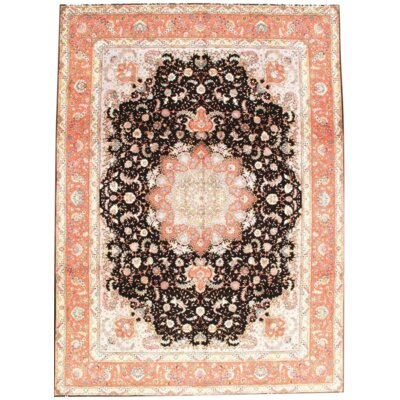 Hand Knotted Black/Coral Area Rug