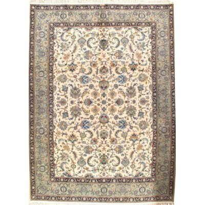 Signed Persian Kashan Hand Knotted Wool Beige Area Rug