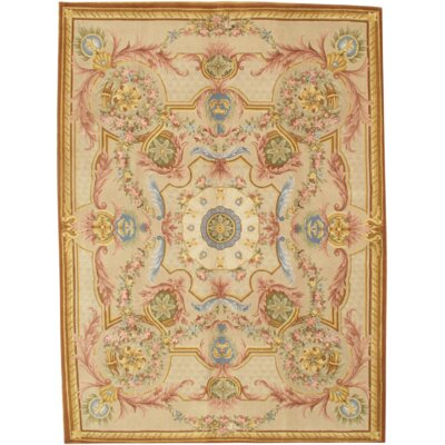 Savonnerie Hand Knotted Wool Ivory Area Rug