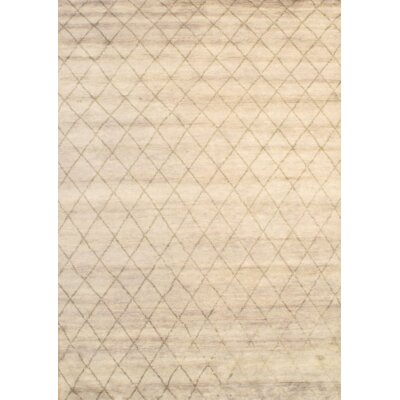 Modern Moroccan Hand Knotted Wool Ivory Area Rug