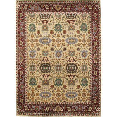 Mahal Hand Knotted Wool Maroon Area Rug