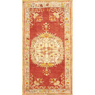 Vintage Hand Knotted Wool Orange Area Rug