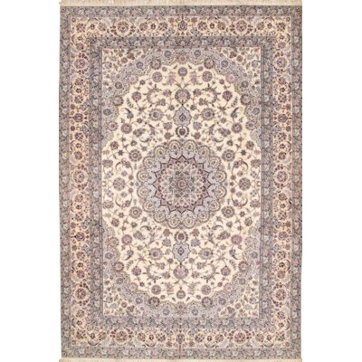 Habibian Persian Nain Hand Knotted Wool Ivory Area Rug