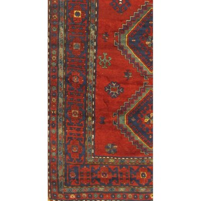 Antique Russian Kazak Hand Knotted Wool Red Area Rug