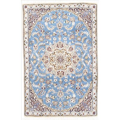 Persian Nain Hand Knotted Wool/Silk Light Blue Area Rug