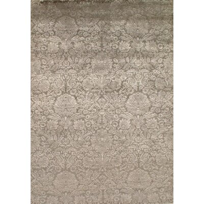 Indo Damask Tabriz Hand Knotted Silk/Wool Beige Area Rug