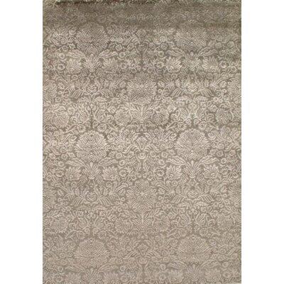 Indo Damask Tabriz Hand Knotted Silk/Wool Beige Area Rug
