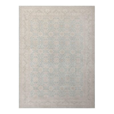Hand Knotted Wool Light Blue Area Rug
