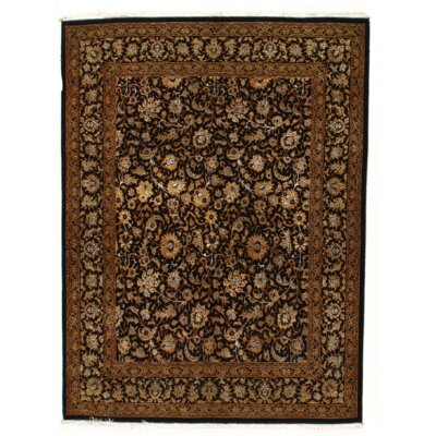 Persian Tabriz Hand Knotted Wool Black/Brown Area Rug