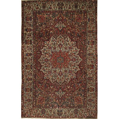 Persian Antique Bakhtiari Hand Knotted Wool Ivory/Brown Area Rug