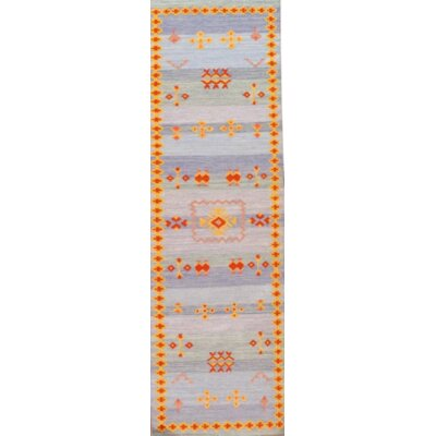 Moroccan Style Reversible Flat Weave Hand Knotted Wool Light Blue Area Rug