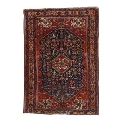 Persian Antique Ghashghaei Hand Knotted Wool Brown Area Rug
