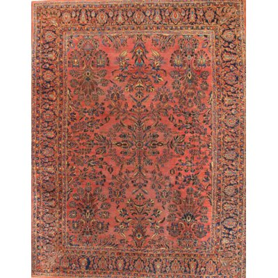 Persian Antique Sarouk Hand-Knotted Wool Rust/Navy Area Rug