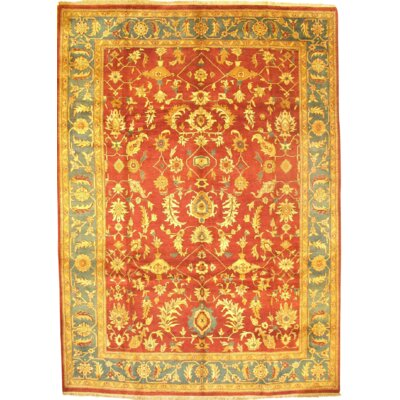 Indo Agra Hand Knotted Wool Red Area Rug