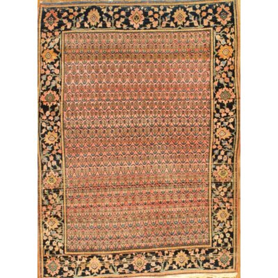 Persian Antique Farahan Sarouk Hand Knotted Wool Orange Area Rug