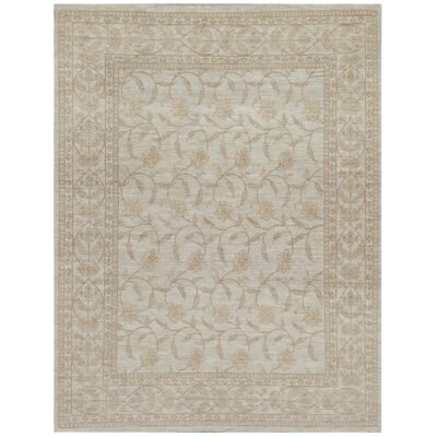 Fine Indo Tabriz Hand Knotted Wool Light Green Area Rug