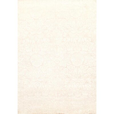 Indo Damask Tabriz Hand Knotted Wool Ivory Area Rug