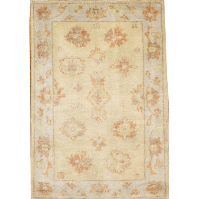 Original Turkish Oushak Design Hand Knotted Wool Ivory Area Rug
