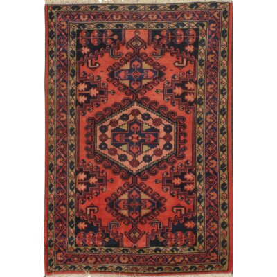 Persian Hamadan Hand Knotted Wool Red Area Rug