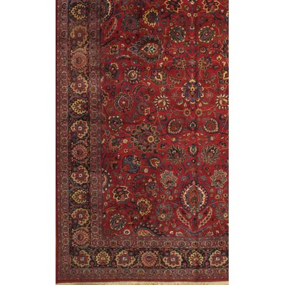 Persian Mashad Hand Knotted Wool Red Area Rug