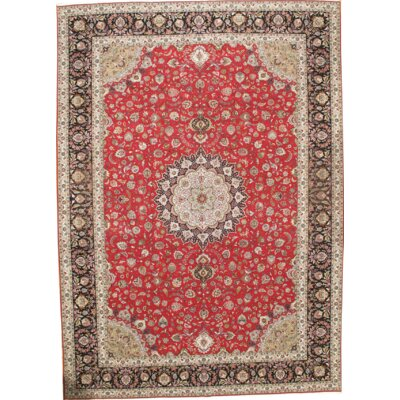 Persian Fine Tabriz Raj Hand Knotted Wool Red Area Rug