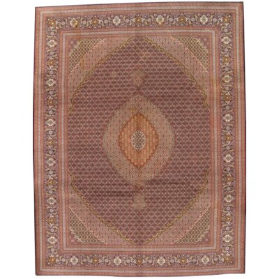Persian Tabriz Hand Knotted Wool Brown Area Rug