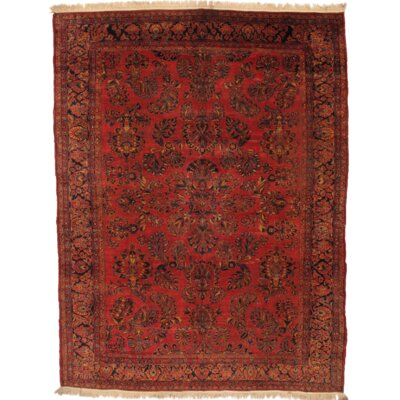 Persian Sarouk Room Hand Knotted Wool Rust Area Rug