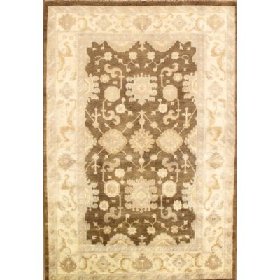 Original Indo Oushak Hand Knotted Wool Brown Area Rug