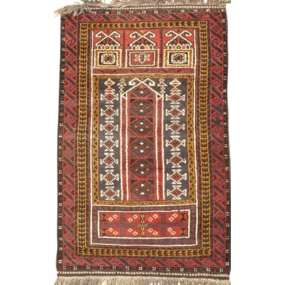 Balouch Hand-Knotted Wool Ivory Rust Area Rug