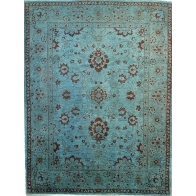 Pishavar Over Dyed Hand- Knotted Wool Light Blue Area Rug