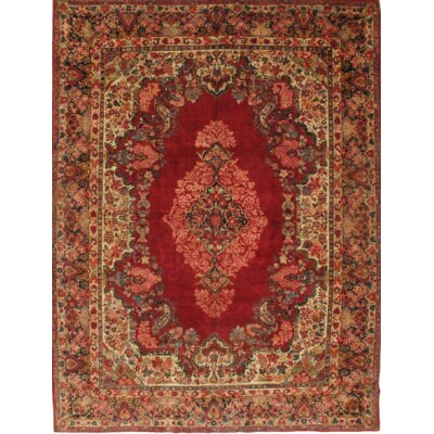 Antique Persian Sarouk Hand-Knotted Wool Red Area Rug