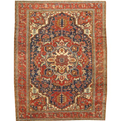 Serapi Hand Knotted Wool Red/Navy Area Rug