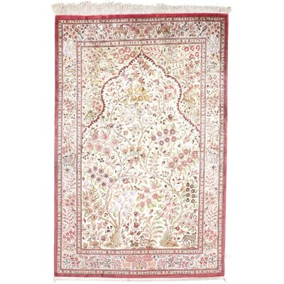 Persian Hand Knotted Silk Beige/Rose Area Rug