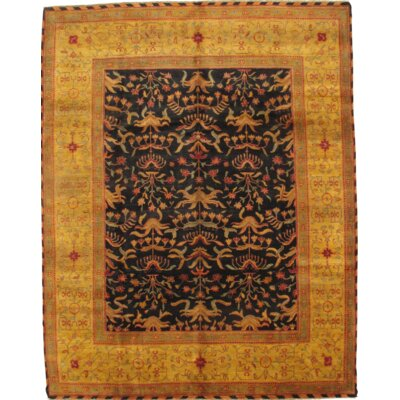 Indian Agra Hand Knotted Wool Black/Orange Area Rug