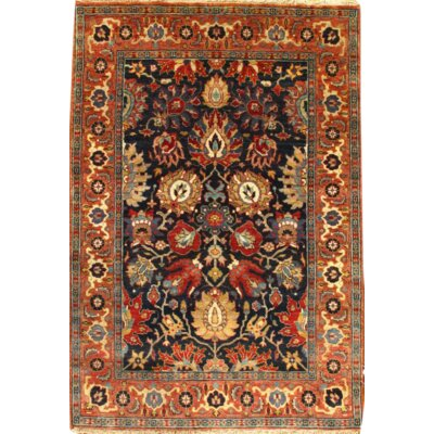 Indo Tabriz Hand Knotted Wool Black/Orange Area Rug