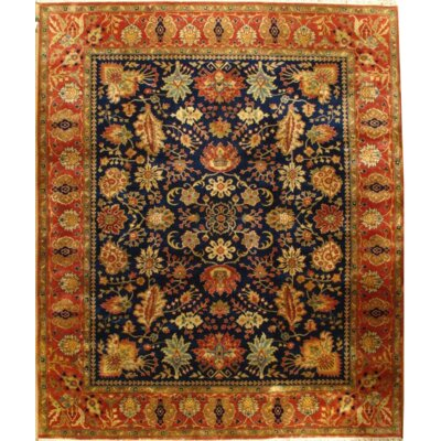 Indo Tabriz Fine Hand Knotted Wool Black/Orange Area Rug