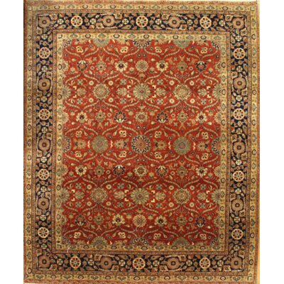 Indo Tabriz Hand Knotted Wool Red/Gold Area Rug