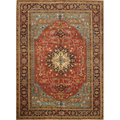 Serapi Hand Knotted Wool Red/Blue Area Rug