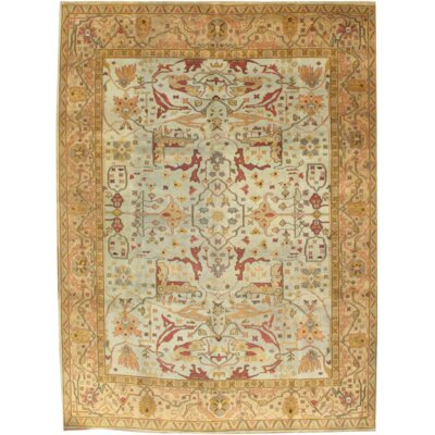 Turkish Oushak Hand Knotted Wool Light Blue/Gold Area Rug