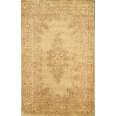 Persian Kerman Hand Knotted Wool Gold Area Rug
