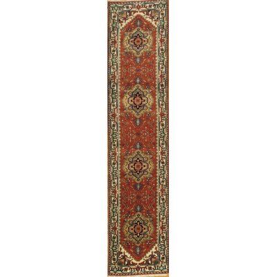 Indo Serapi Hand Knotted Wool Red/Gold Area Rug