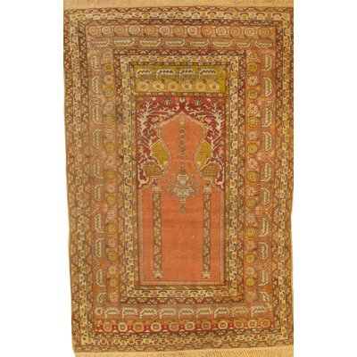 Turkish Hand Knotted Wool Gold/Orange Area Rug