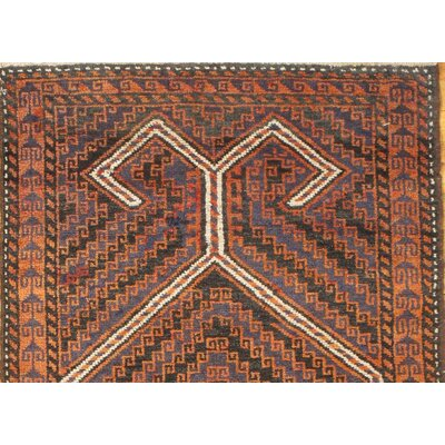 Tribal Baloch Hand Knotted Wool Orange Area Rug