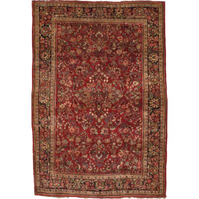 Persian Sarouk Hand Knotted Wool Red/Gold Area Rug