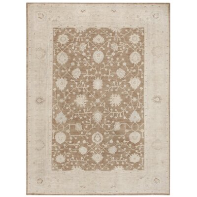 Turkish Oushak Hand Knotted Wool Beige/Gray Area Rug