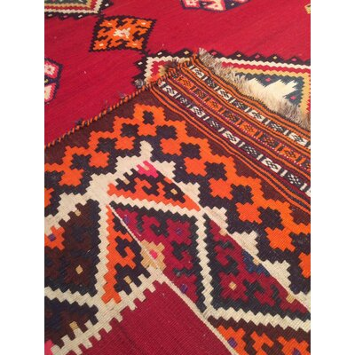 Persian Kilim Vintage Hand Knotted Wool Red Area Rug