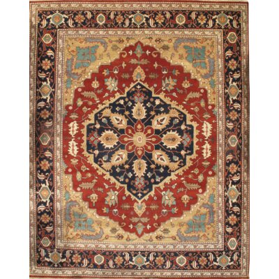 Indian Serapi Hand Knotted Wool Red/Beige Area Rug