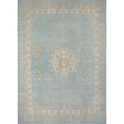 Khotan Hand Knotted Wool Gray/Blue Area Rug